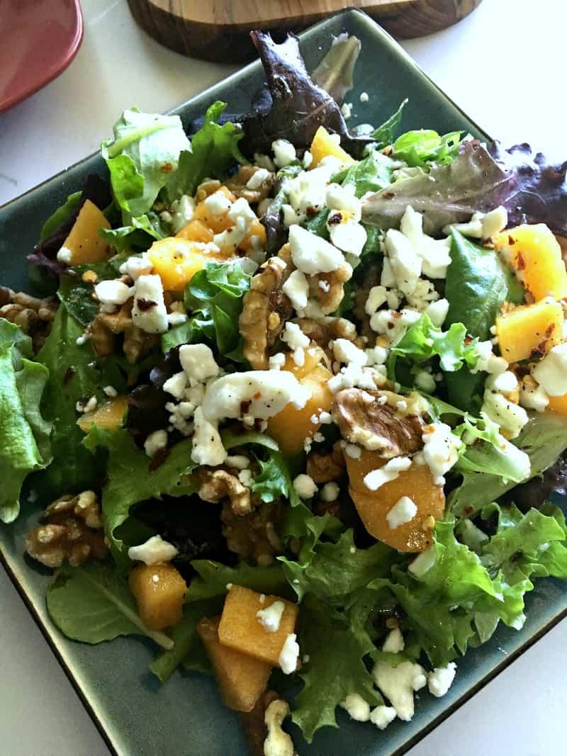 spicy walnut peach salad