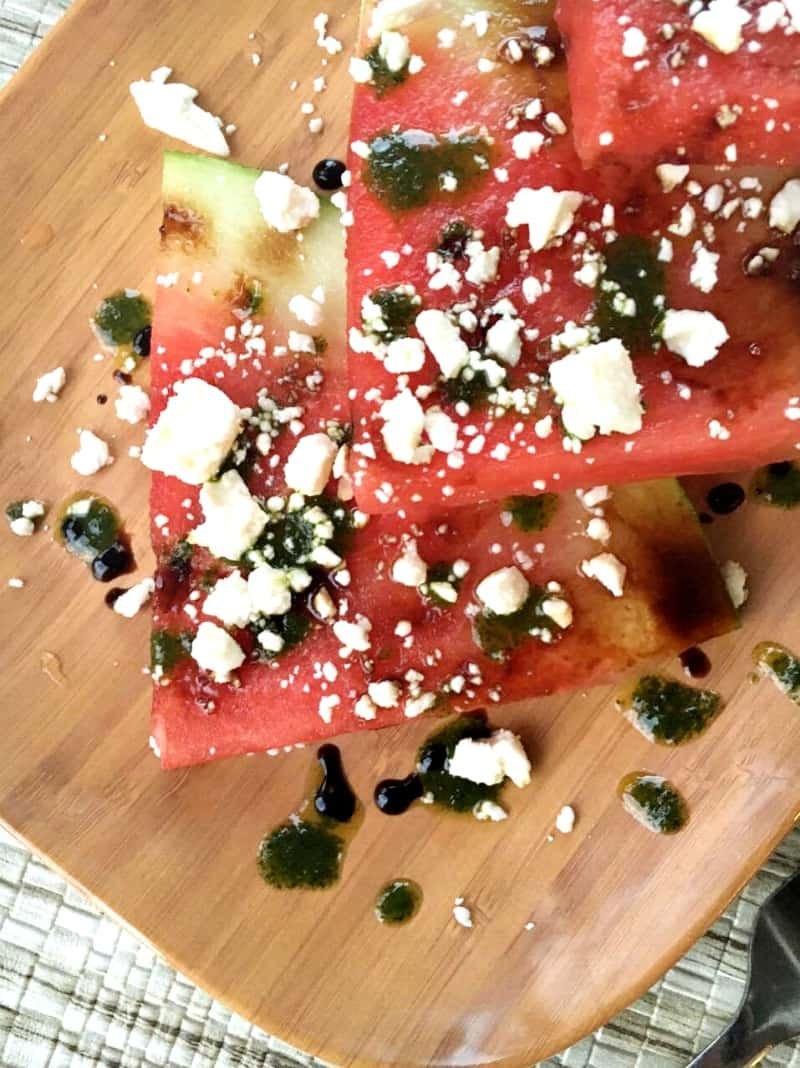 Florida Watermelon Slices with Balsamic Syrup, Mint Oil & Feta Cheese