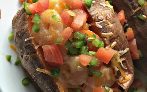 Cheesy  Jalapeño & Shrimp Stuffed Sweet Potatoes