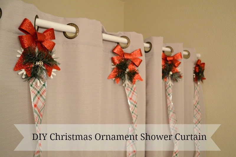 DIY Christmas Ornament Shower Curtain