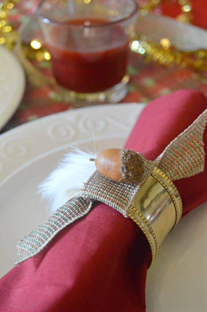 DIY Faux Fur Acorn Napkin Rings