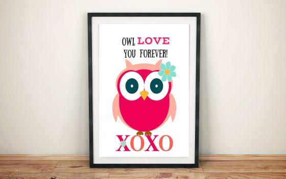 Free Valentines Day Owl Printable