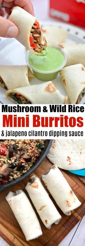 Mushroom & wild rice mini burritos & jalapeño cilantro dipping sauce