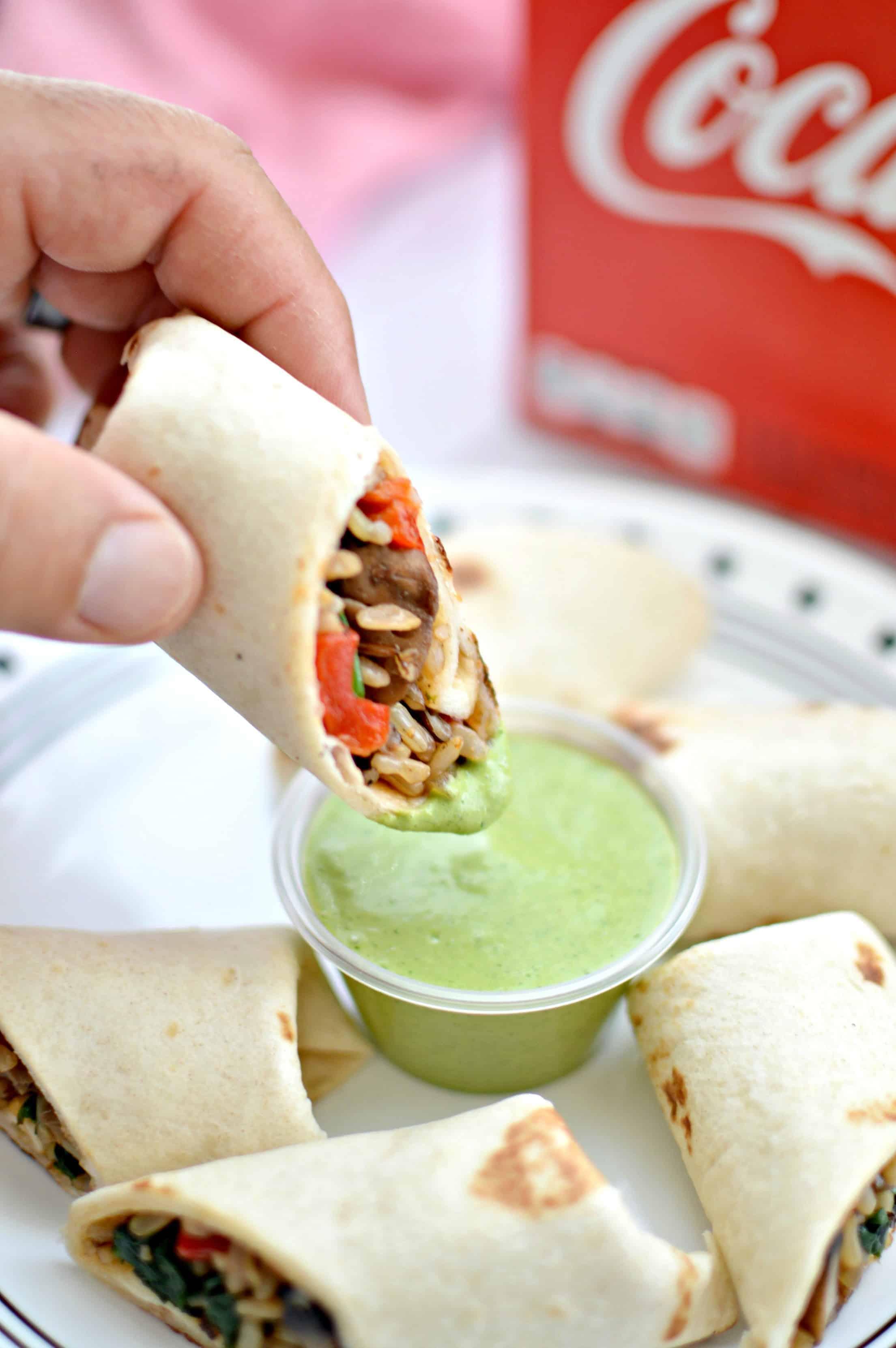 Mini Mushroom & Wild Rice Burrito + Jalapeño Cilantro Dipping Sauce