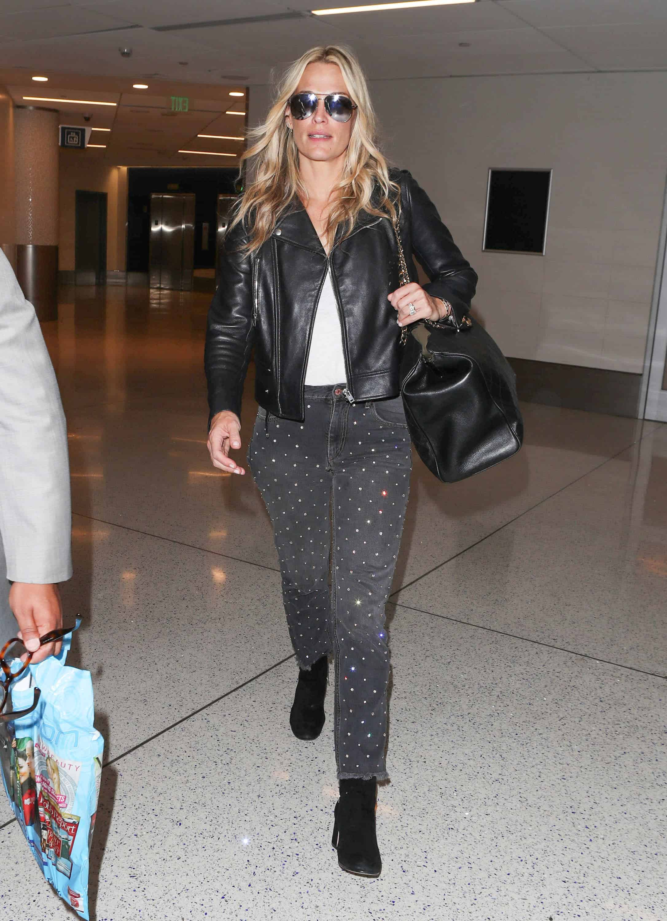 Molly Sims Rhinestone Jeans Look for Less