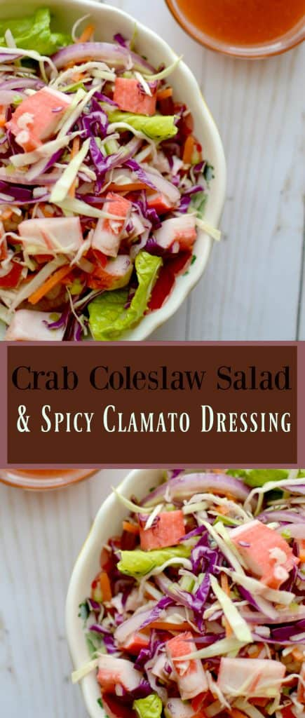 Crab Coleslaw Salad & Spicy Clamato Dressing