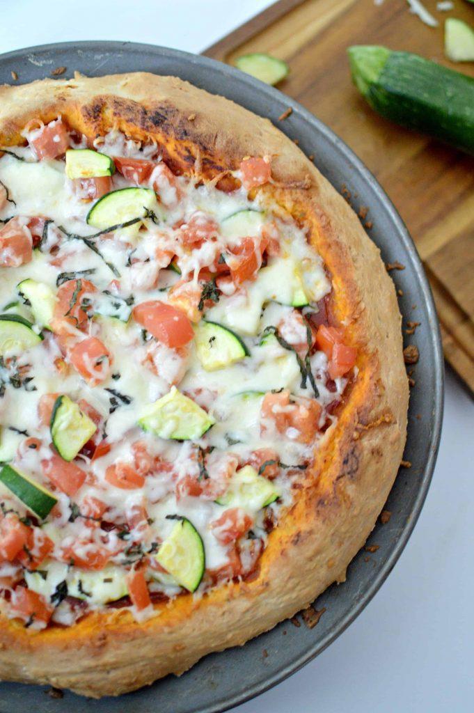 fresh tomato & zucchini family pizza