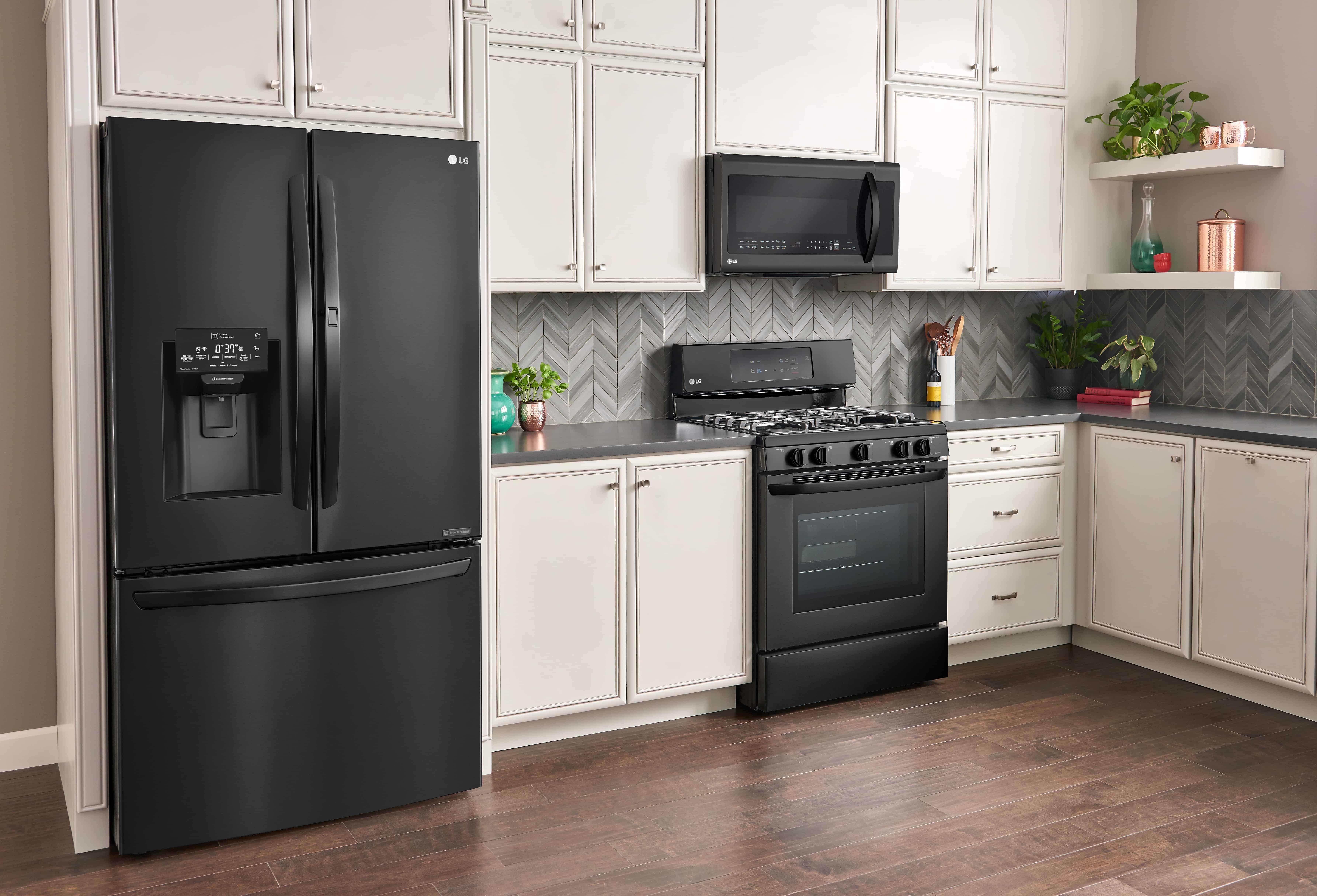 Sleek & Stylish LG Matte Black Kitchen