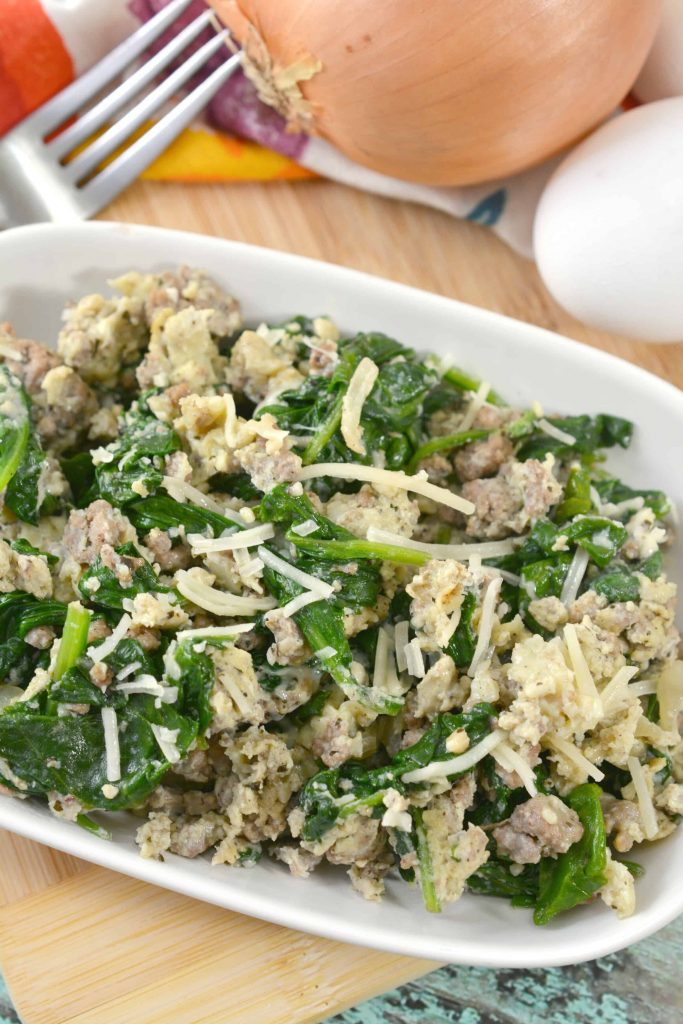 Keto Ground Beef Florentine Scramble