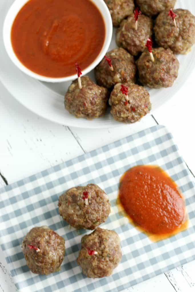 Low Carb Mozzarella Stuffed Meatballs