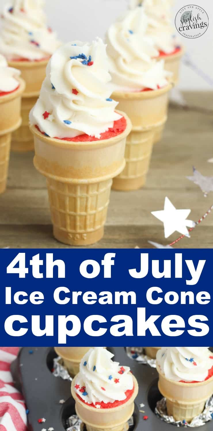 4th of July Ice Cream Cone Cupcakes