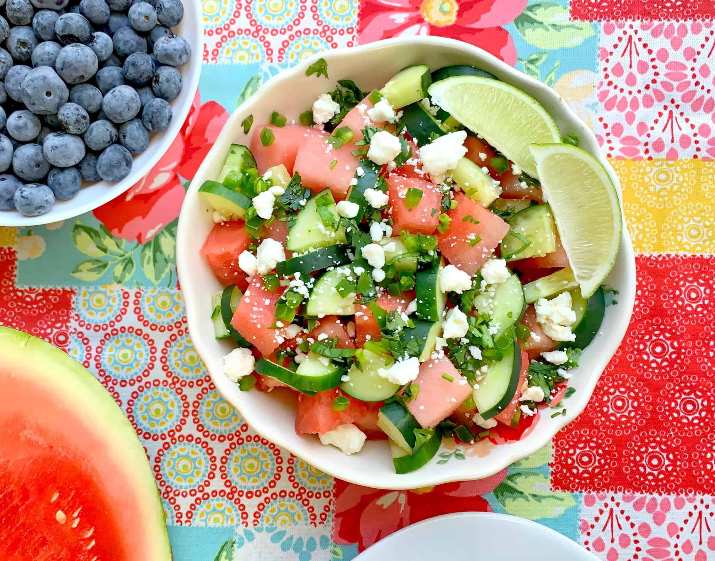 Watermelon Jalapeno Feta Salad