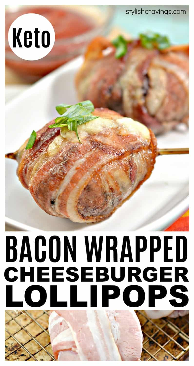 Bacon Wrapped Cheeseburger Lollipops
