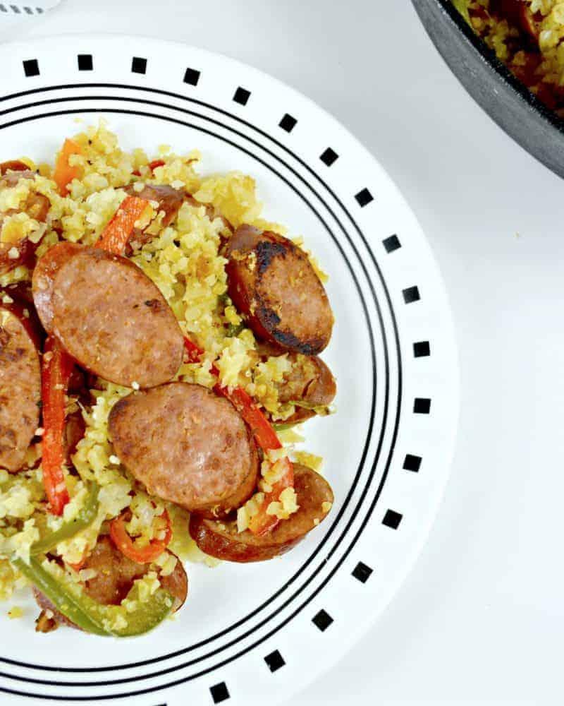 Keilbasa and Cauliflower Rice Skillet
