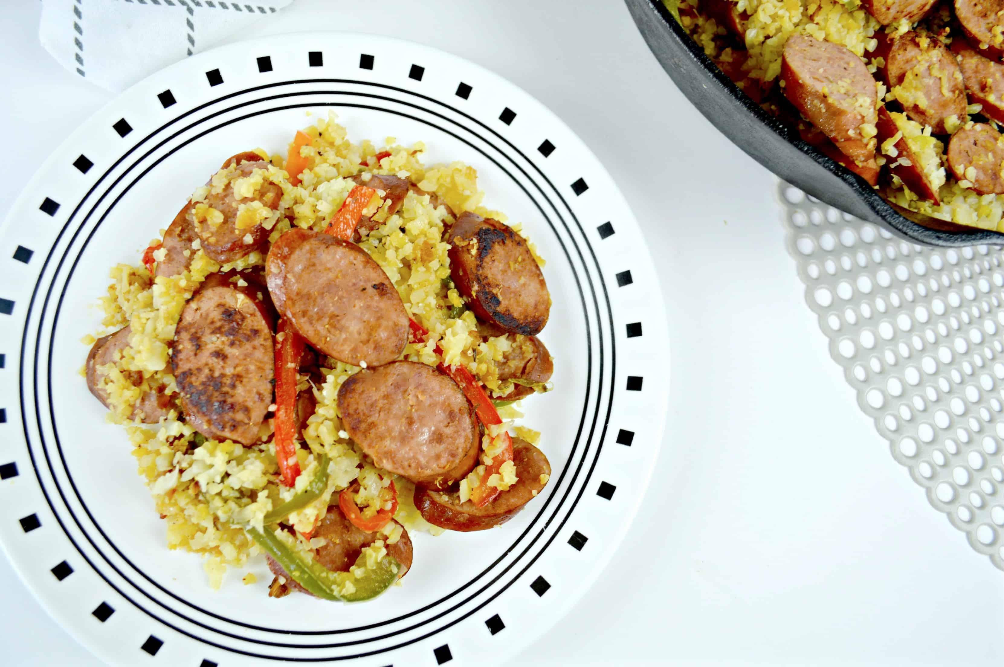 Low Carb Keilbasa Cauliflower Rice Skillet