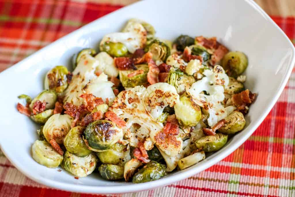 Roasted Cauliflower & Brussel Sprouts With Bacon