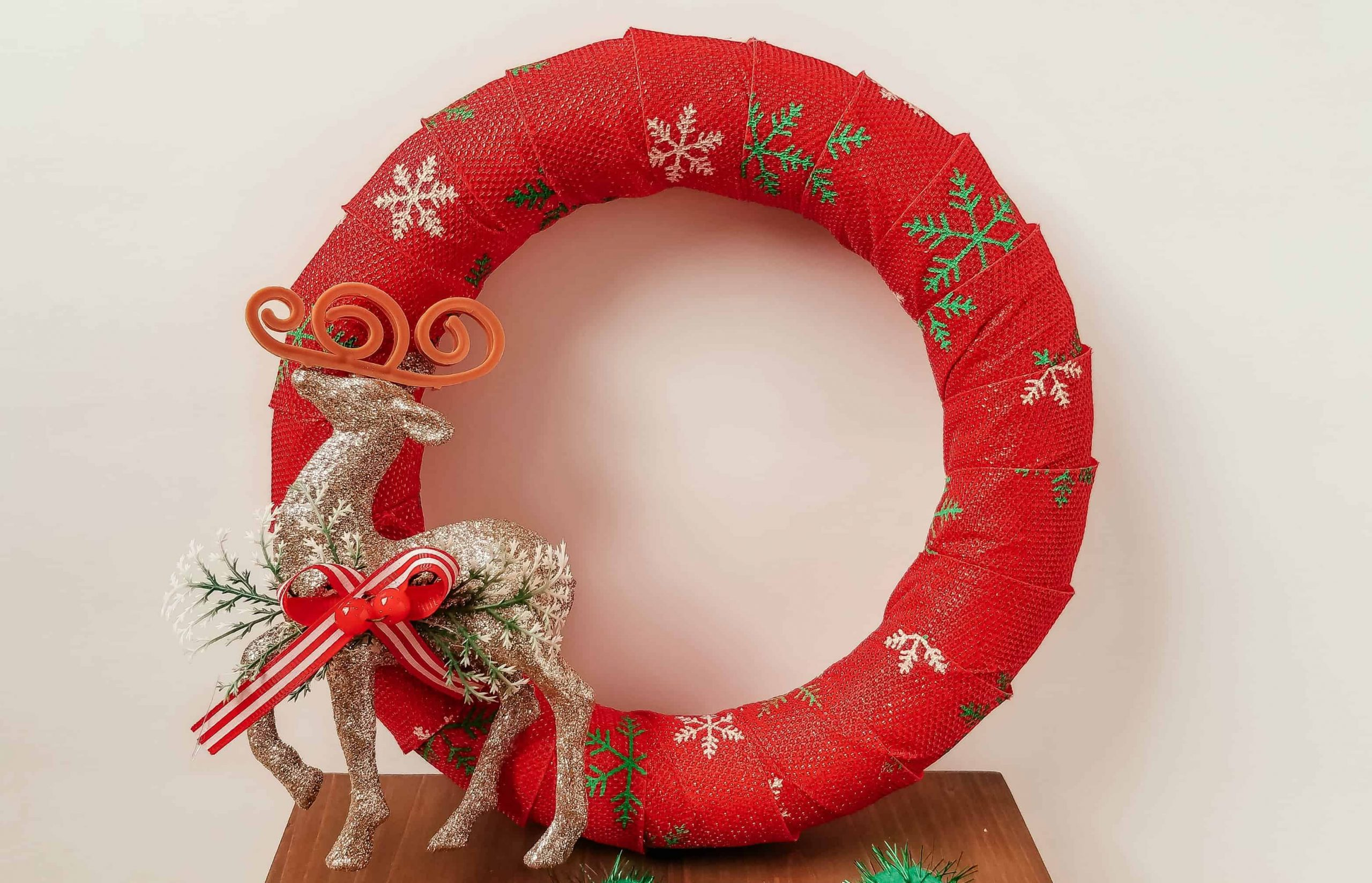 Dollar Tree Christmas Wreath Easy Diy Christmas Craft
