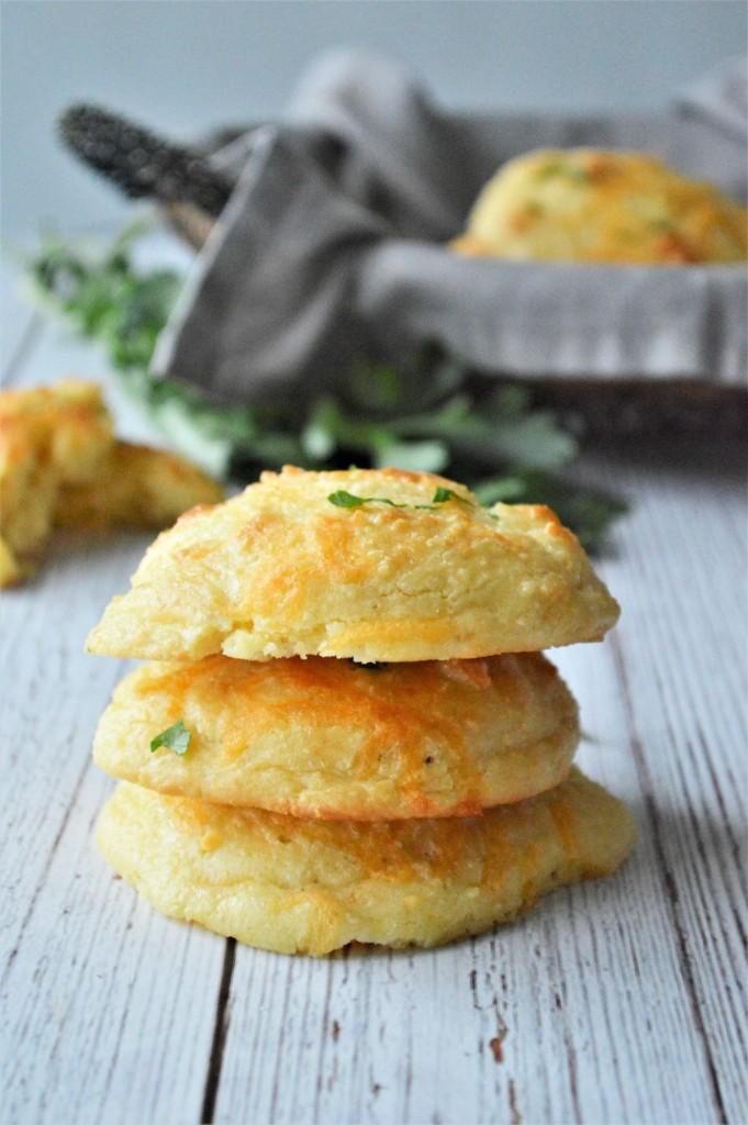 Keto Garlic Cheddar Drop Biscuits