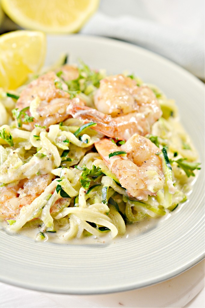 Keto Cajun Shrimp and Zoodles Alfredo