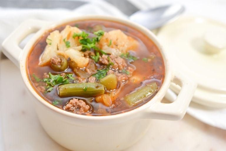 Horizontal Beef Vegetable Soup Photo