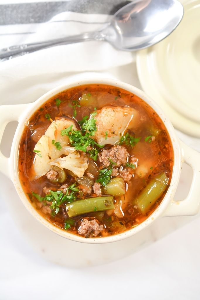 Low Carb Vegetable Beef Soup View From Overhead