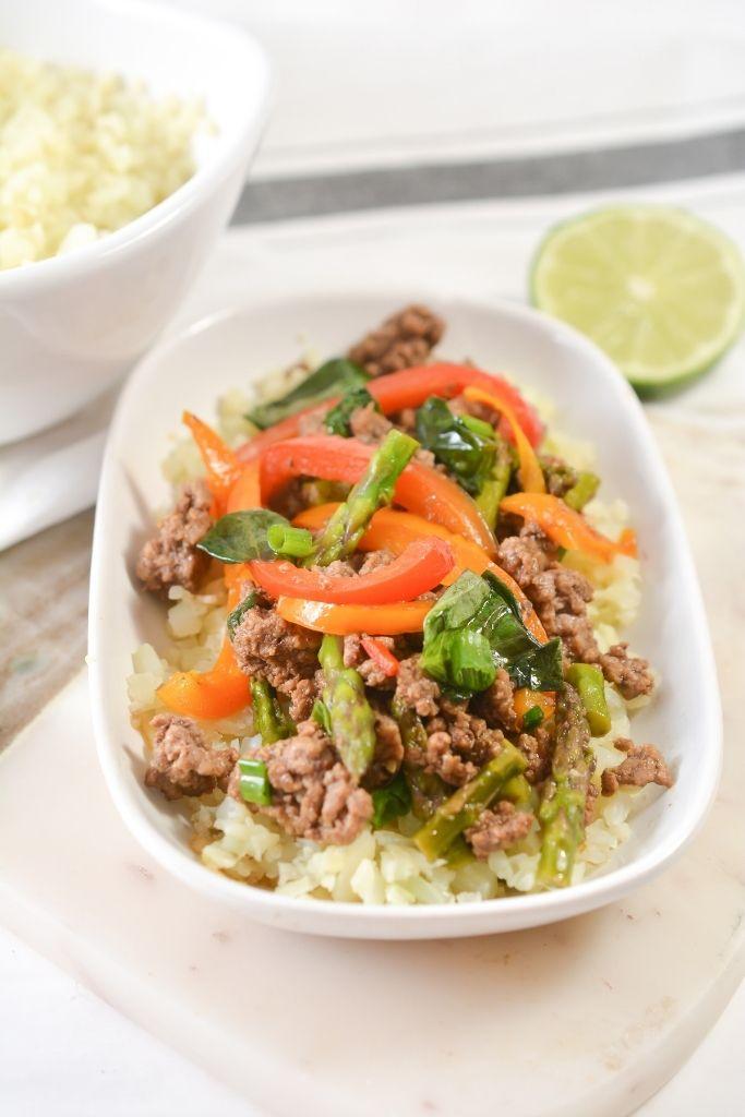 Keto Thai Basil Beef In A White Bowl