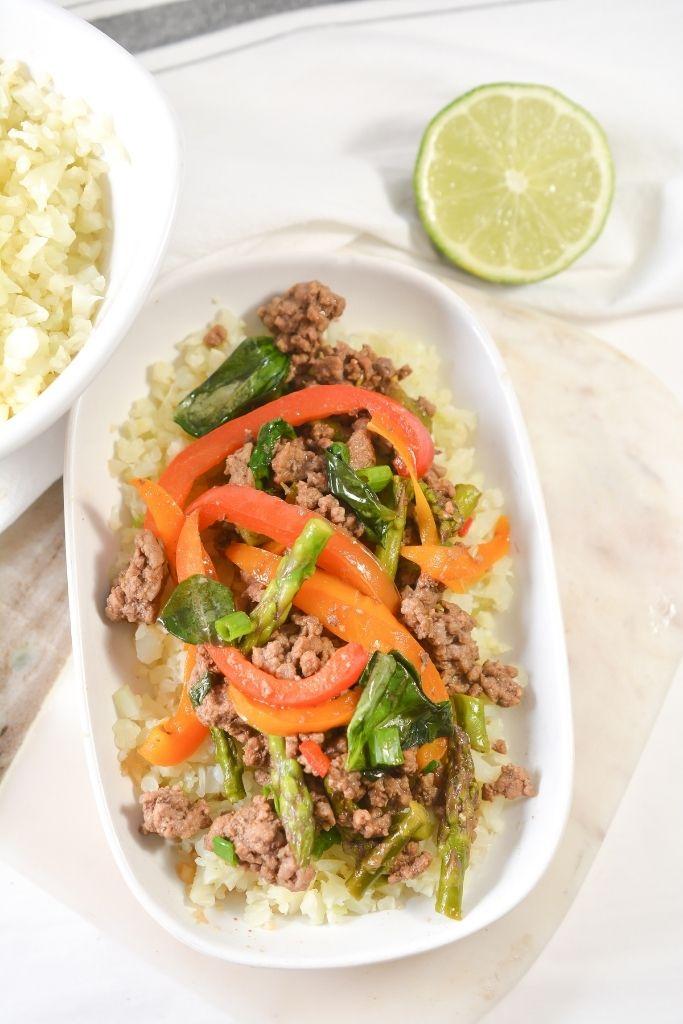 Keto Thai Basil Beef In A Bowl