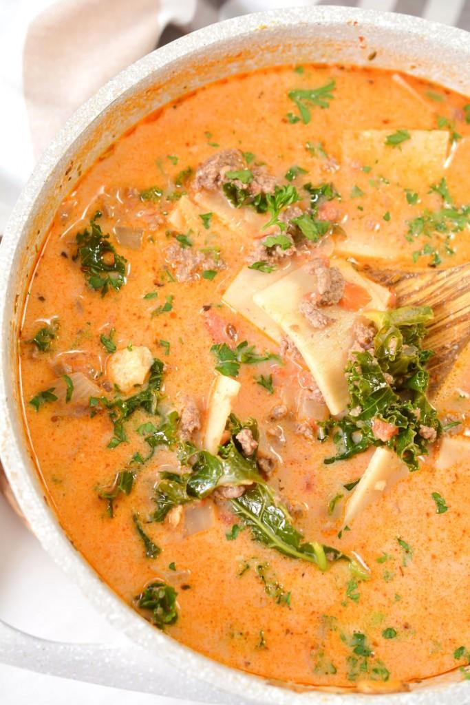 Creamy Keto Lasagna Soup