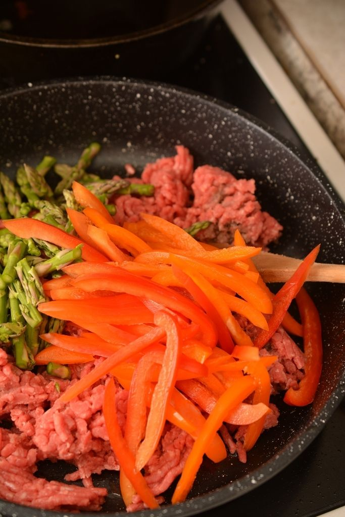 Ground Beef and veggies in a skillet