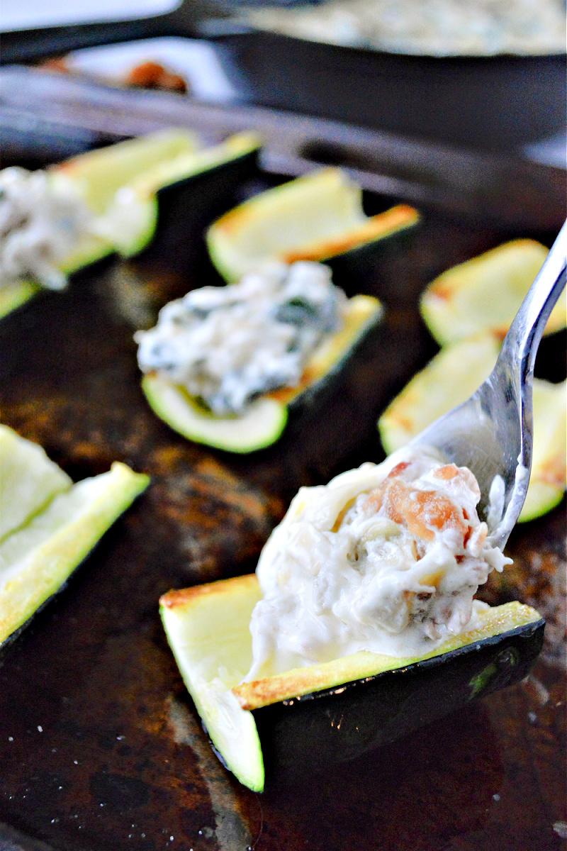 Keto Spinach Artichoke Zucchini Bites