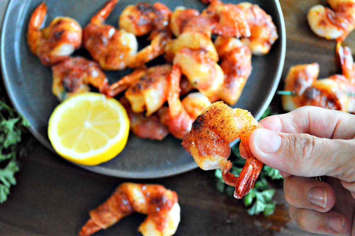 Keto Bacon Wrapped Shrimp