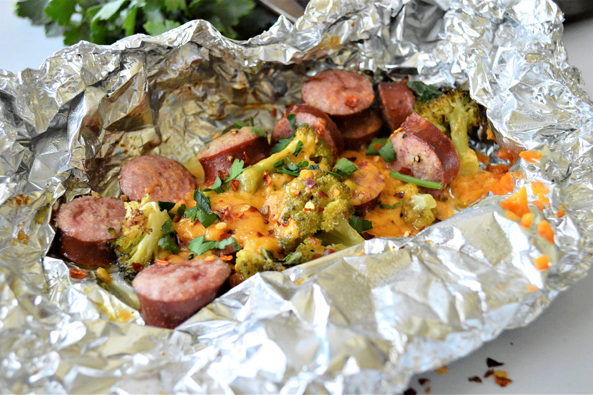 Sausage Broccoli Foil Packets
