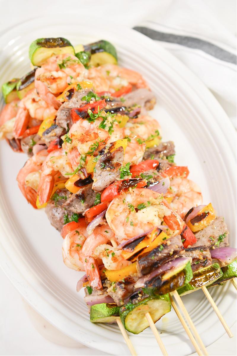 Keto Steak and Shrimp Kabobs