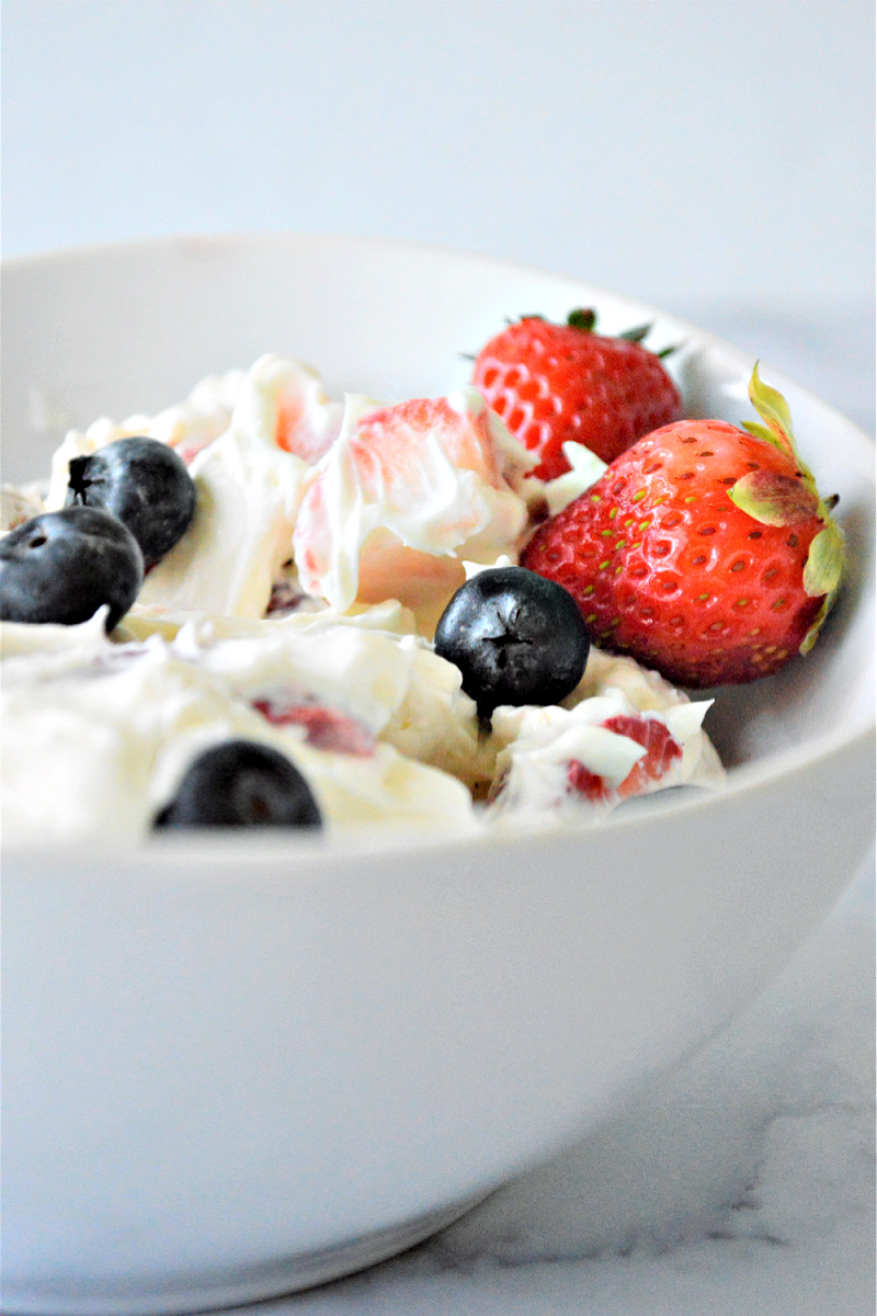 Keto Red White and Blue Cheesecake Salad