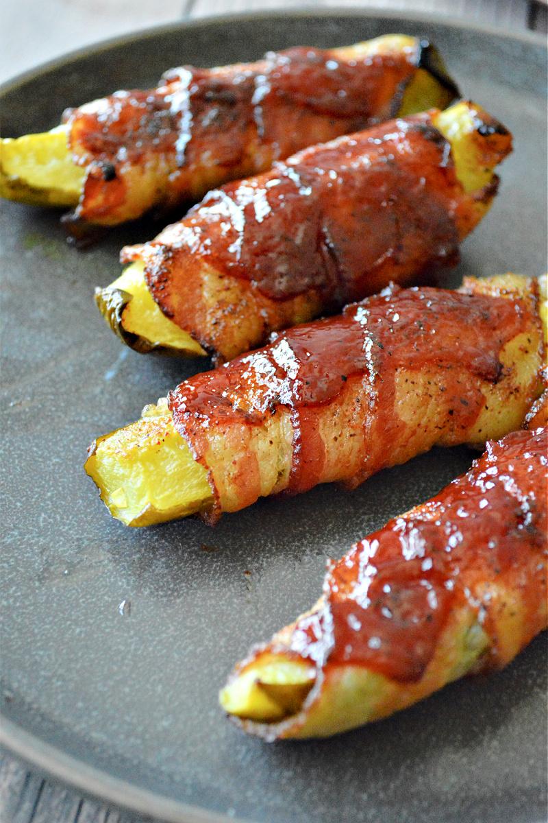 Keto BBQ Bacon-Wrapped Pickles
