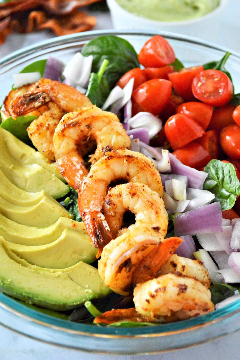 Shrimp Avocado and Spinach Salad