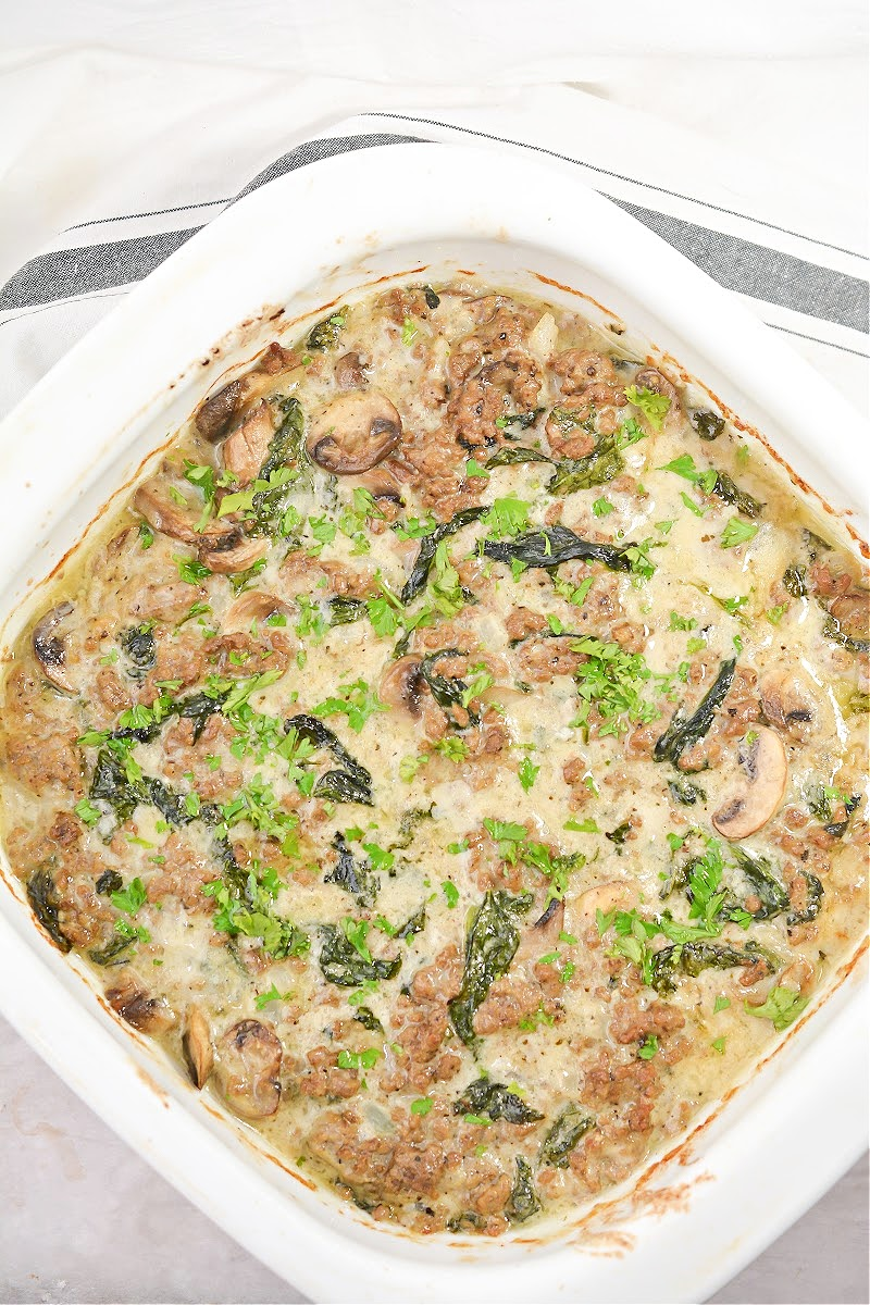 Cheesy Keto Ground Beef Casserole With Spinach and Mushrooms