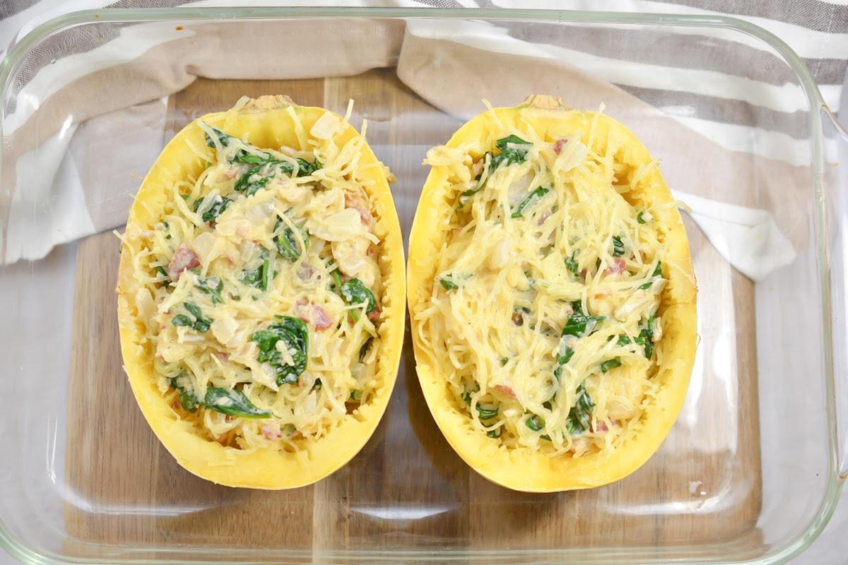 Creamy Keto Garlic Spinach Feta Spaghetti Squash Boats