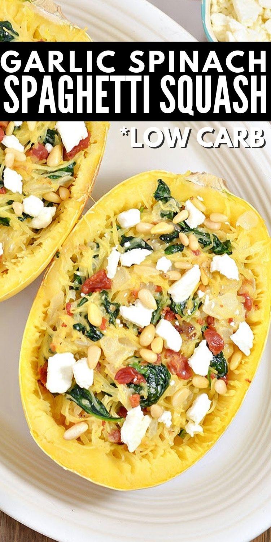 Creamy Low-Carb Garlic Spinach Feta Spaghetti Squash Boats
